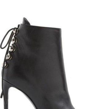 ONETOW balenciaga lace up back pointy toe bootie women nordstrom 2