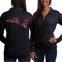 Victorias Secret PINK New England Patriots Ladies Half-Zip Sweatshirt - Navy Blue