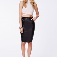 Missguided - Mariota Black Faux Leather Pencil Skirt
