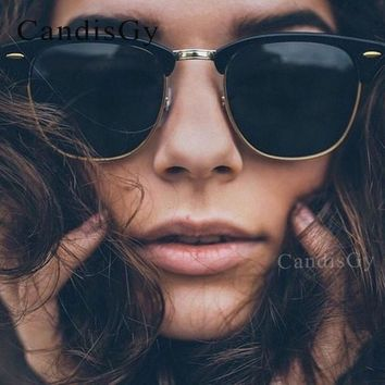 Classic Half Rims Frame Mirror Fashion Sunglasses Men Women UV Protect to 100% Rivet Sun Glasses Male Female Shades Small  Hot