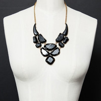 Gemstone Black Cluster Necklace,Fashion Statement Women Jewelry,Gift for Here