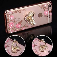 iPhone 7 Plus Floral Crystal TPU Case Soft Slim Bling Plating Rubber Cover for iPhone 7 Plus 5.5 Inch with Rhinestone Diamond and Detachable 360 Ring Stand-Rose Gold and Pink
