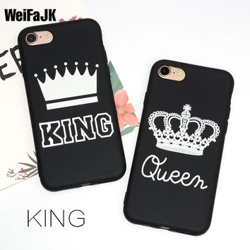 WeiFaJK KING Queen Matte Soft Phone Case for iPhone 6 Case for iPhone 5s 5 6s Plus Cover TPU Black Cover for iPhone 7 Plus Coque