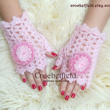 Pink Crochet Mittens with Flowers, Fingerless Gloves, Lace Hand warmers, Wrist Cuffs ,Gift for her, Women's Fashion Accessory