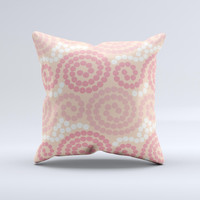 Pink Spiral Polka Dots ink-Fuzed Decorative Throw Pillow