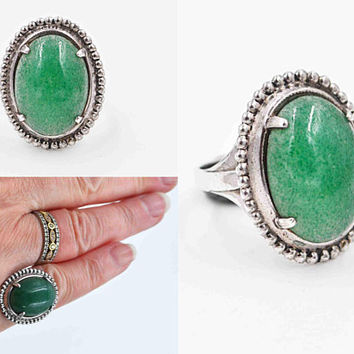 Vintage L.S. Peterson Sterling Silver & Aventurine Ring, L.S.P. Co., Green, Prong-Set, Milgrain, Semi-Precious, Size 6 1/2  #c452