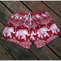 Red Elephant Shorts Hippie Hipster Clothing Boxers Aztec Ethnic Bohemian Ikat Handmade Unique Bikini Sleepwear Nightwear Sexy Cute Summer
