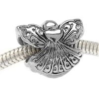 Silver Tone Two Sided Angel With Heart Large Hole Bead Fits Pandora (1)