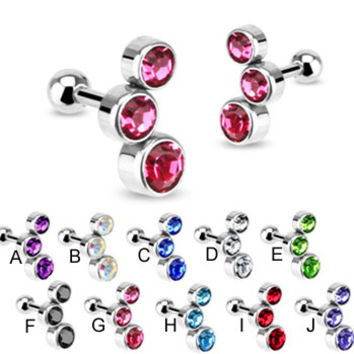 Pair of 316L Surgical Steel cartilage straight barbell with triple colored CZs, 16 ga