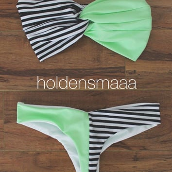 Bikini -- Sea Foam/Stripes