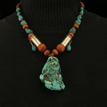 Mountain Man Huge Turquoise Nugget Pendant & 40 Caliber Shell Necklace
