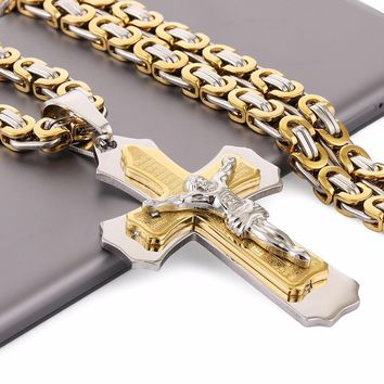 "Multilayer Cross Christ Jesus Pendant Necklace Stainless Steel Link Byzantine Chain Heavy Men Jewelry Gift 21.65"" 6mm MN0078"