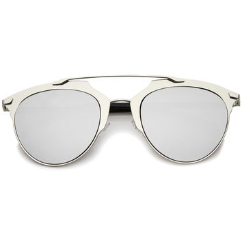 Modern Metallic Frame Mirrored Lens Pantos Aviator Sunglasses A317