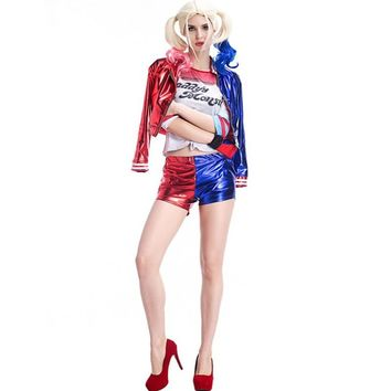 Women Adult Harley Quinn Cosplay Costume Sets Suits Joker Suicide Squad 155-178cm tall Halloween jacket Costumes
