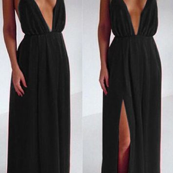 B| Chicloth Sexy Deep V-Neck Backless Prom Dress Black Evening Gowns