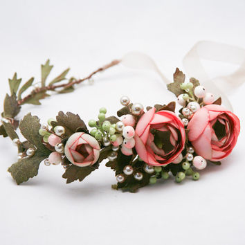 Pink Wedding Flower Crown Woodland Wedding Floral Halo Boho Wedding Hair Wreath Wedding Hair Accessory with Pearls