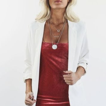 Business Class White Rolled Sleeve Blazer