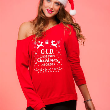 Obsessive Christmas Disorder Women's Off Shoulder Funny Xmas Sweater