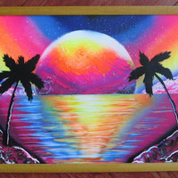 neon beach spray paint art,neon painting,girls room decor,framed artwork,neon ocean decor,beach home decor,gift for her,unique painting,gift
