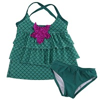 Two-Piece Little Girl Mermaid layered Halter Swimsuit