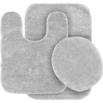 Garland Rug 3-Piece Traditional Nylon Washable Bathroom Rug Bath Mat Set