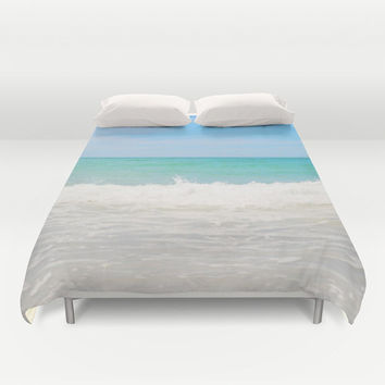 Beach Anna Maria 4 - Duvet Cover, Pastel Blue & Green Ocean Decor Beach Surf Bungalow Style Bedding Throw Cover Accent. Twin Full Queen King