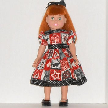 American Girl Doll Dress Woodland Patchwork Red & Black fits 18 inch dolls