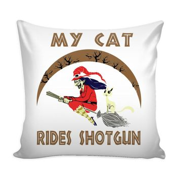 Halloween Witch Graphic Pillow Cover My Cat Rides Shotgun