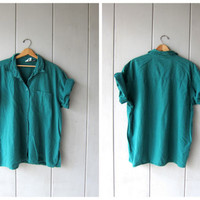 Oversized 90s Teal Blouse Soft Cotton Button Down Collared Shirt Minimal Slouchy Boyfriend Shirt Boho Beach Tshirt DES Womens 2XL
