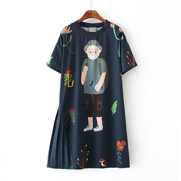 Women's Casual Mini Dress Round Neckline Short Sleeve Loose Character Pattern Dress