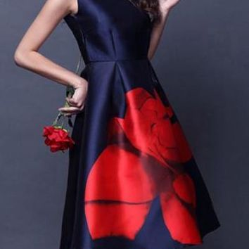 Knee Length Navy Blue Dress With Bright Red Rose Bell Skirt