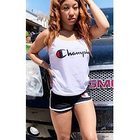 Champion New fashion letter print top and shorts two piece suit women White