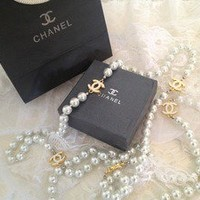 LAstylez — Designer Gold CC Chanel Inspired Long White Pearl Necklace