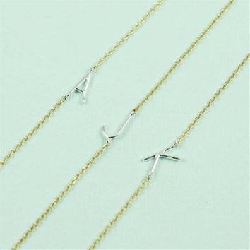 Sideways Silver Initial Necklace
