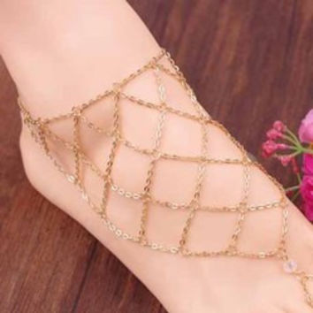 Fishing Net Pattern Barefoot Sandal    (ONE PIECE)