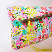 Neon Clutch Fabric Neon colors Flower pattern by byMART on Etsy