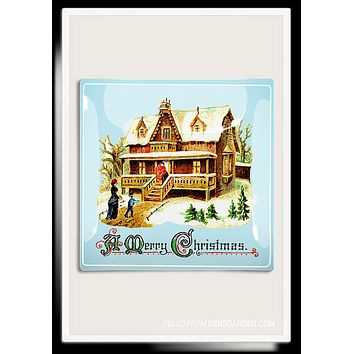 Merry Christmas Cottage Decoupage Glass Tray