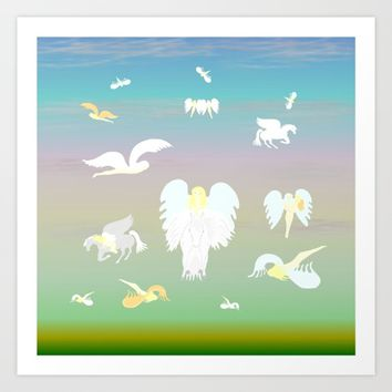 Angels Amongst The Clouds Art Print by Kat Worth
