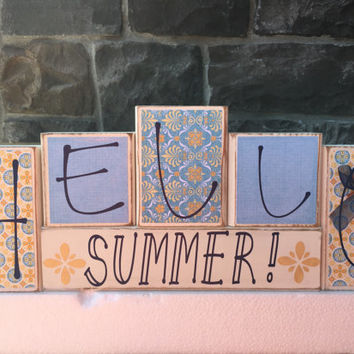 Hello Summer / Home Decor Custom Reversible Wooden Blocks