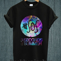 Hot - Five Seconds Of Summer 5 SOS Galaxy Nebula Indy Band Tee Shirt Black and White Unisex Size - Part 3