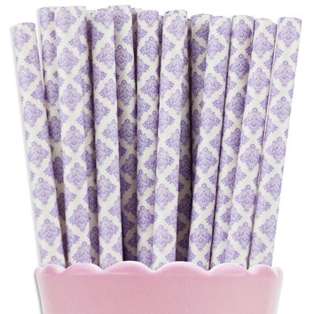Light Purple Damask Paper Straws
