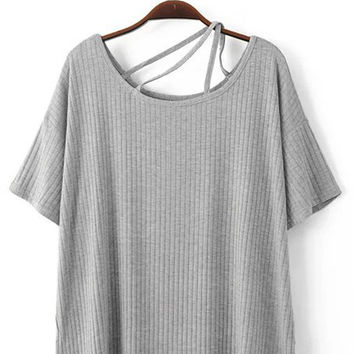 Short Sleeve Off-The-Shoulder Crossback T-Shirt