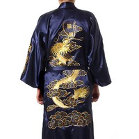 Navy Blue Chinese Men's Robe