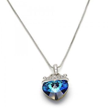 Rhodium Plated Fancy Necklace, Heart and Box Design, with Swarovski Crystals and Micro Pave, Rhodium Tone