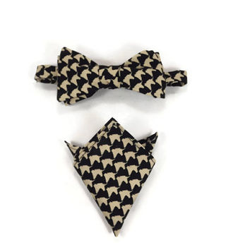 Unicorn bowtie, pocket square set, unicorn houndstooth, unicorn pocket square, unicorn accessory, bronie bowtie, bronie accessory