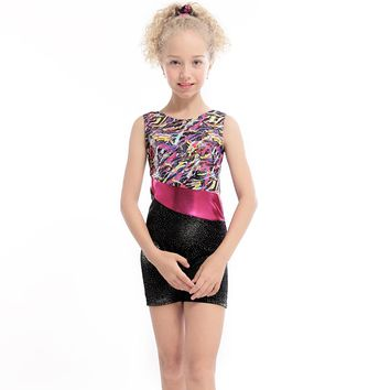 3-10Y Girls Ballet Dance Dress Ribbon Flower Sleeveless Ballet Tutu Child Gymnastic Leotards Ballet Costumes Dancewear Biketard