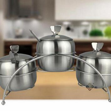 Spice Storage Container 7Pcs/Set Kitchen Canisters Apple Shape Organizador Stainless Steel Salt Sugar Bowl Jars Pots Spoons.