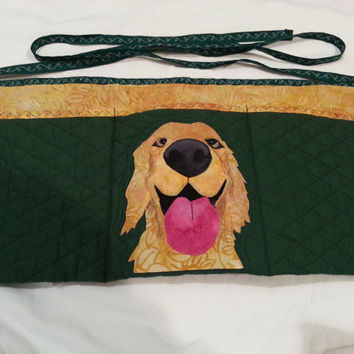 Happy Dog Apron for Dog Agility, Dog Obedience, Horse Training Apron - Appliqued Yellow Labrador Golden Retriever