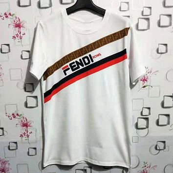 FENDI Trending Women Men Casual Print Short Sleeve Round Collar T-Shirt Top White