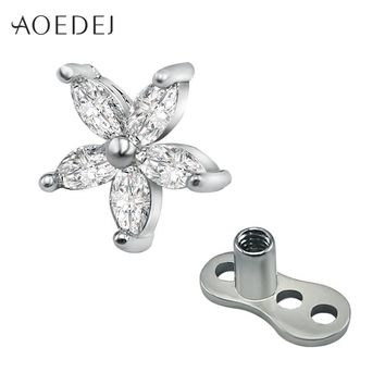 AOEDEJ Flower Crystal Rhinestones Dermal Anchor Stainless Steel Titanium Micro Dermal Piercing Tops Skin Diver body Piercing